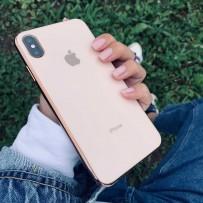 """Чехол """"Закаленное стекло"""" для iPhone XS MAX, пудровый (с золотым кантом)"""
