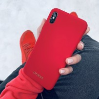 Чехол Guess для iPhone XS MAX Silicone collection Gold logo Hard Red