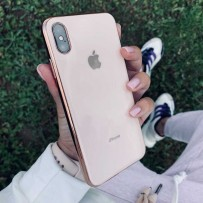 """Чехол """"Закаленное стекло"""" для iPhone XS/ X, пудровый (с золотым кантом)"""
