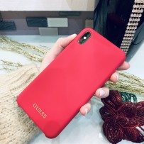 Чехол Guess для iPhone XS/ X Silicone collection Gold logo Hard Red