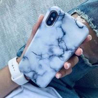 Чехол - мрамор для iPhone XS/ X, противоударный силиконовый, белый