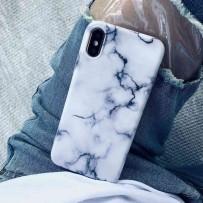 Чехол - мрамор для iPhone XS MAX, противоударный силиконовый, белый