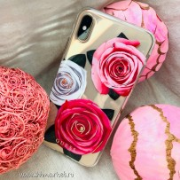 Чехол Guess для iPhone XS Max Flower Desire Hard Transparent/Tricolor roses