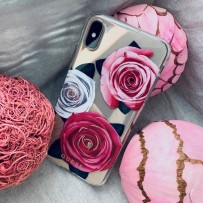 Чехол Guess для iPhone XS/ X Flower Desire Hard Transparent/Tricolor roses