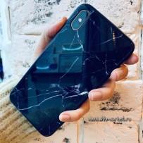 """Чехол """"Закаленное стекло"""" черный мрамор для iPhone XS Max"""