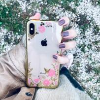 """Чехол """"Цветочки"""" для iPhone XS Max, золотой кант"""