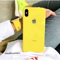 """Комплект: чехол стеклянный """"Закаленное стекло"""" для iPhone XS/ X, желтый + ремешок силиконовый soft-touch для Apple Watch 40мм/ 38мм"""