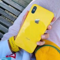 """Комплект: чехол стеклянный """"Закаленное стекло"""" для iPhone XS MAX, желтый + ремешок силиконовый soft-touch для Apple Watch 40мм/ 38мм"""