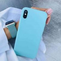 """Комплект: чехол стеклянный """"Закаленное стекло"""" для iPhone XS/ X, тиффани + ремешок силиконовый soft-touch для Apple Watch 44мм/ 42мм"""