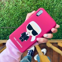 Чехол Lagerfeld для iPhone X/XS Liquid silicone Iconic Karl Hard Fuchsia