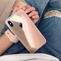 Противоударный кристально-прозрачный чехол для iPhone XS MAX, с нежно-розовым кантом