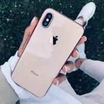"""Чехол """"Закаленное стекло"""" для iPhone XS/ X, пудровый (с розовым кантом)"""