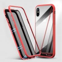 """Чехол """"Магнитный с закаленным стеклом"""" для iPhone XS/ X, красный"""